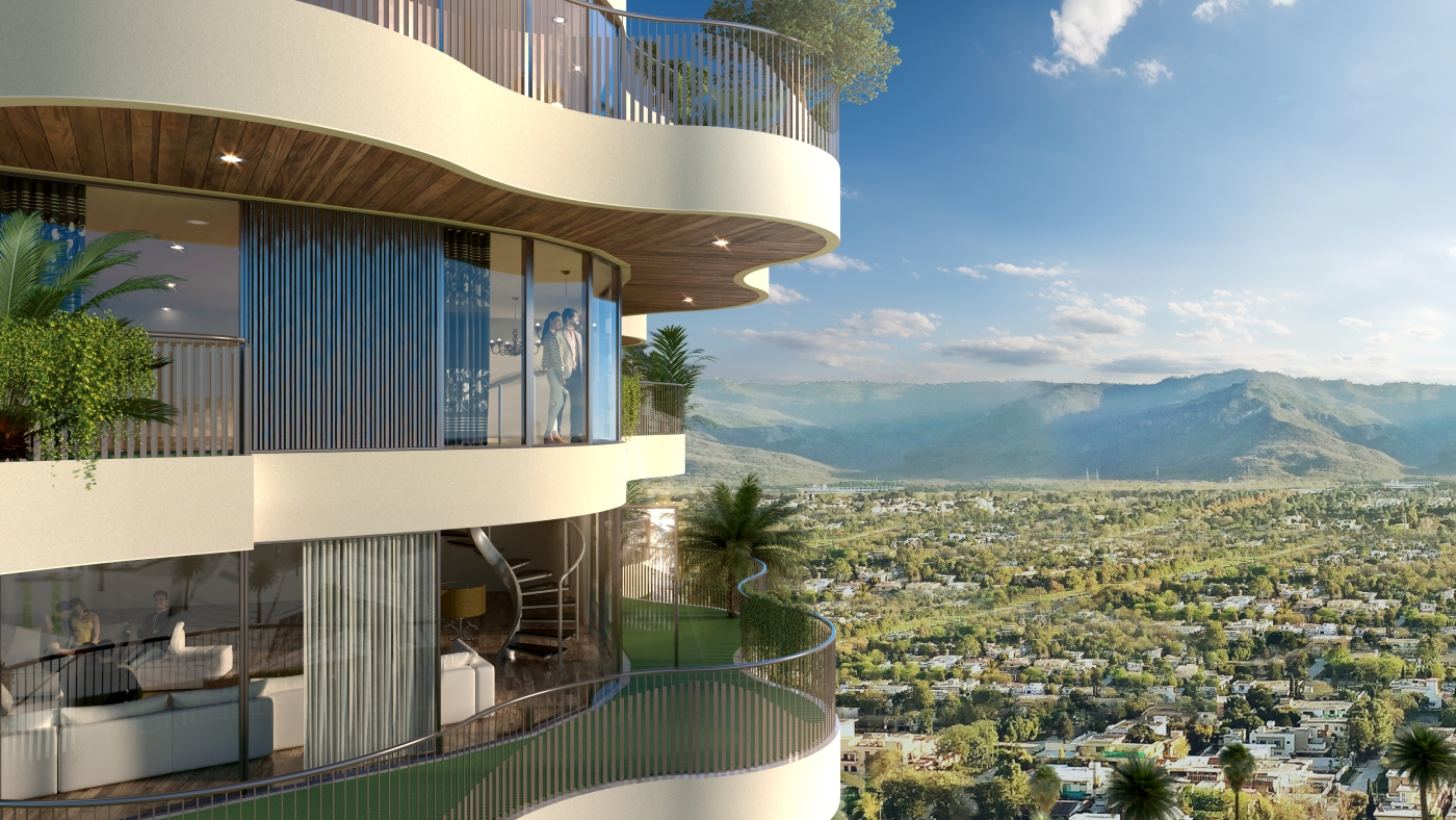 3D CGI Cé La Vi View, Islamabad, Pakistan. G-Net3d, Bahria Enclave. Luxury Apartment View over developed valley and hills. Wavy building structure creating balconies with Foliage. https://www.gnet.ie/