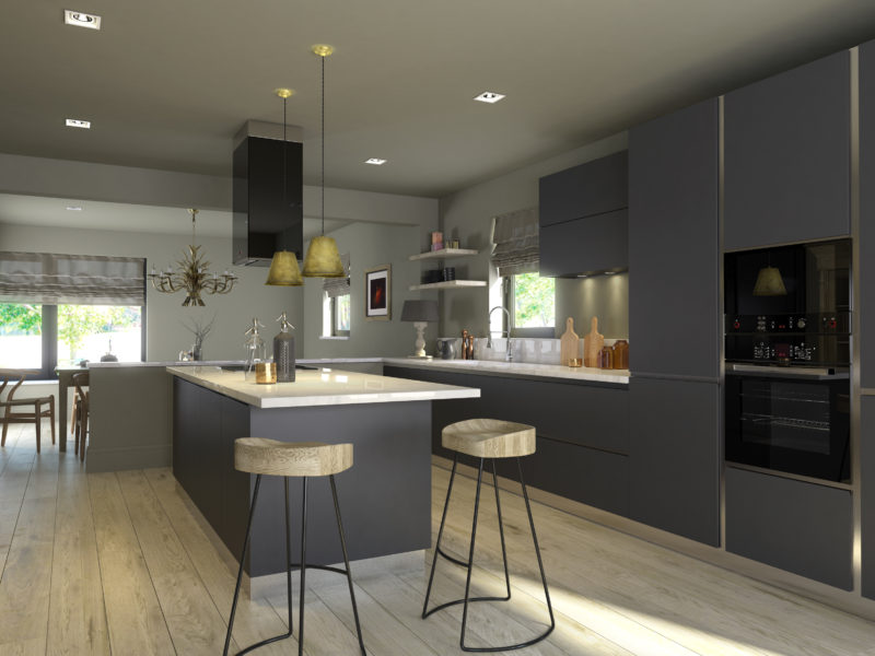 Contemporary Kitchen Design. Produced by the award winning team at G-Net 3D. Interior Design Visualisation. 3D CGI interior model. L-shaped, build in, contemporary, clean kitchen with island, finished in dark grey with white, marble counter top, light maple flooring, corner view with kitchen and island nearest, looking down into open plan diner with window.